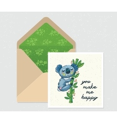 Set for design envelope and card with cute vector