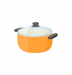 Cooking pan with glass lid icon cartoon style vector