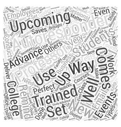 Autoresponder training sessions word cloud concept vector