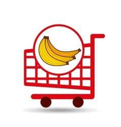 banana ecommerce shopping cart graphic vector image