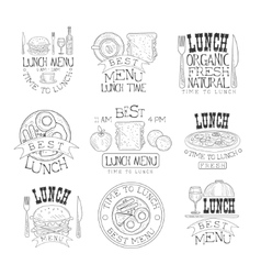 Best in town organic lunch menu set of hand drawn vector