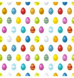 Bright colourful easter eggs on white seamless vector image vector image