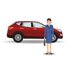 Businesswoman on a luxury crossover car vector