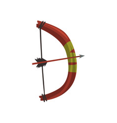 Cartoon letter d created from wooden bow and arrow vector