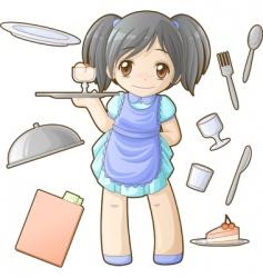 chibi professions sets waitress vector image vector image