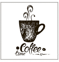 coffee time vintage stylized lettering vector image vector image