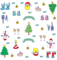 Doodle of christmas set color vector