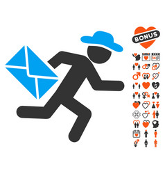 Gentleman mail courier icon with love bonus vector