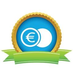 Gold euro coin logo vector