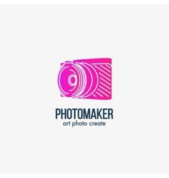 Isolated pink color photo camera silhouette vector image