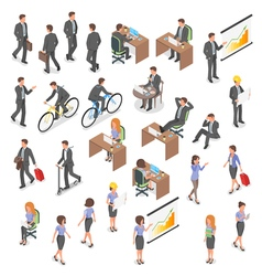 Isometric set of business people vector