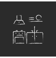 Kitchen interior icon drawn in chalk vector image