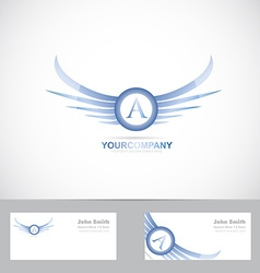 Letter a logo with blue wings vector