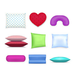 pillows cushions colorful realistic set vector image