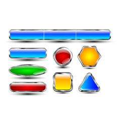 Reflective buttons chrome vector