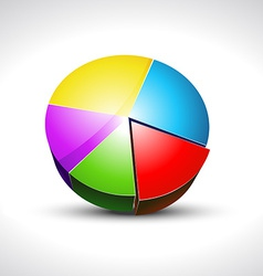 shiny pie graph icon vector image vector image