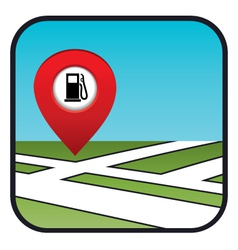 Street map icon with the pointer gas station vector image vector image