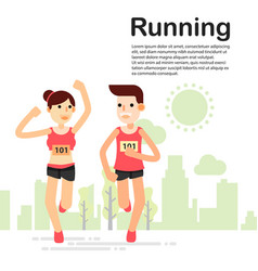 young couple running and training for marathon vector image vector image