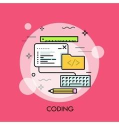 Program code window keyboard pencil ruler and vector