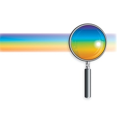 Rainbow and magnifying glass vector