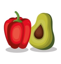 Pepper and avocado fresh vector