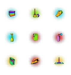 Sanitary day icons set pop-art style vector