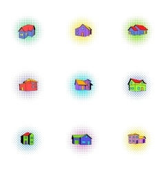 Structure icons set pop-art style vector