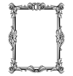 Retro antique baroque border frame with scroll vector image