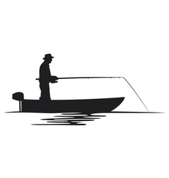Fisherman in a boat silhouette vector