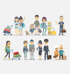 Traveling people family friends couple vector