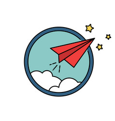 Paper airplane retro badge or icon freedom vector