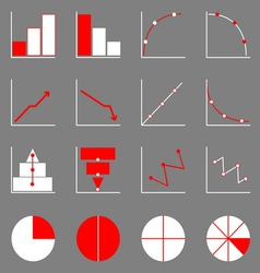 Applied graph icons on gray background vector image