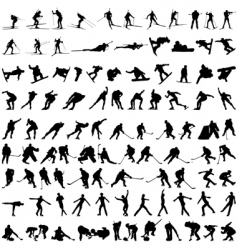 Set of winter sport silhouettes vector