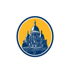 Dome of sacre coeur basilica paris retro vector
