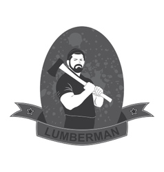 Stylish logo lumberjack with an ax vector