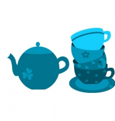 Floral tea set vector