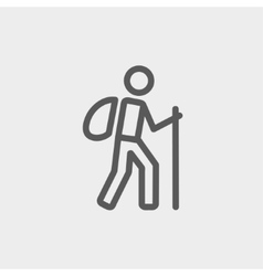 Hiking exercise thin line icon vector