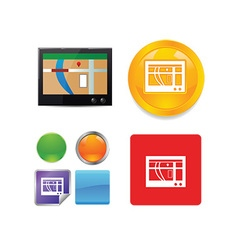 Technology and networking icon set vector