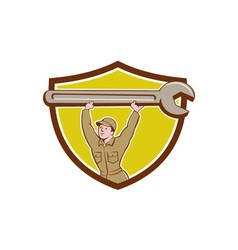 Mechanic lifting spanner wrench crest cartoon vector
