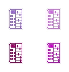 Set of stylish sticker on paper calculator and vector
