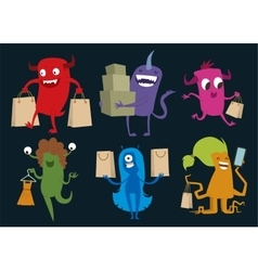 Cartoon cute monsters christmas sale shopping vector