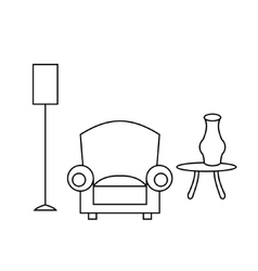 Living room interior design with outline vector