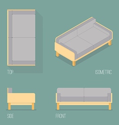 Set of modern sofa isometric drawing vector
