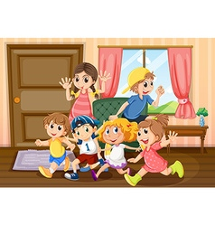 Children running around the room vector