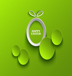 Easter card with abstract eggs on green background vector