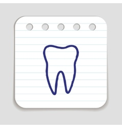 Doodle tooth icon vector