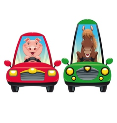 Animals in the car pig and horse vector