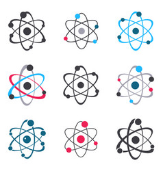 atom sign logo icons collection vector image