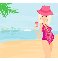 Beautiful pregnant woman walking on blue beach in vector image
