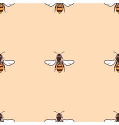 Bees seamless background in beige vector